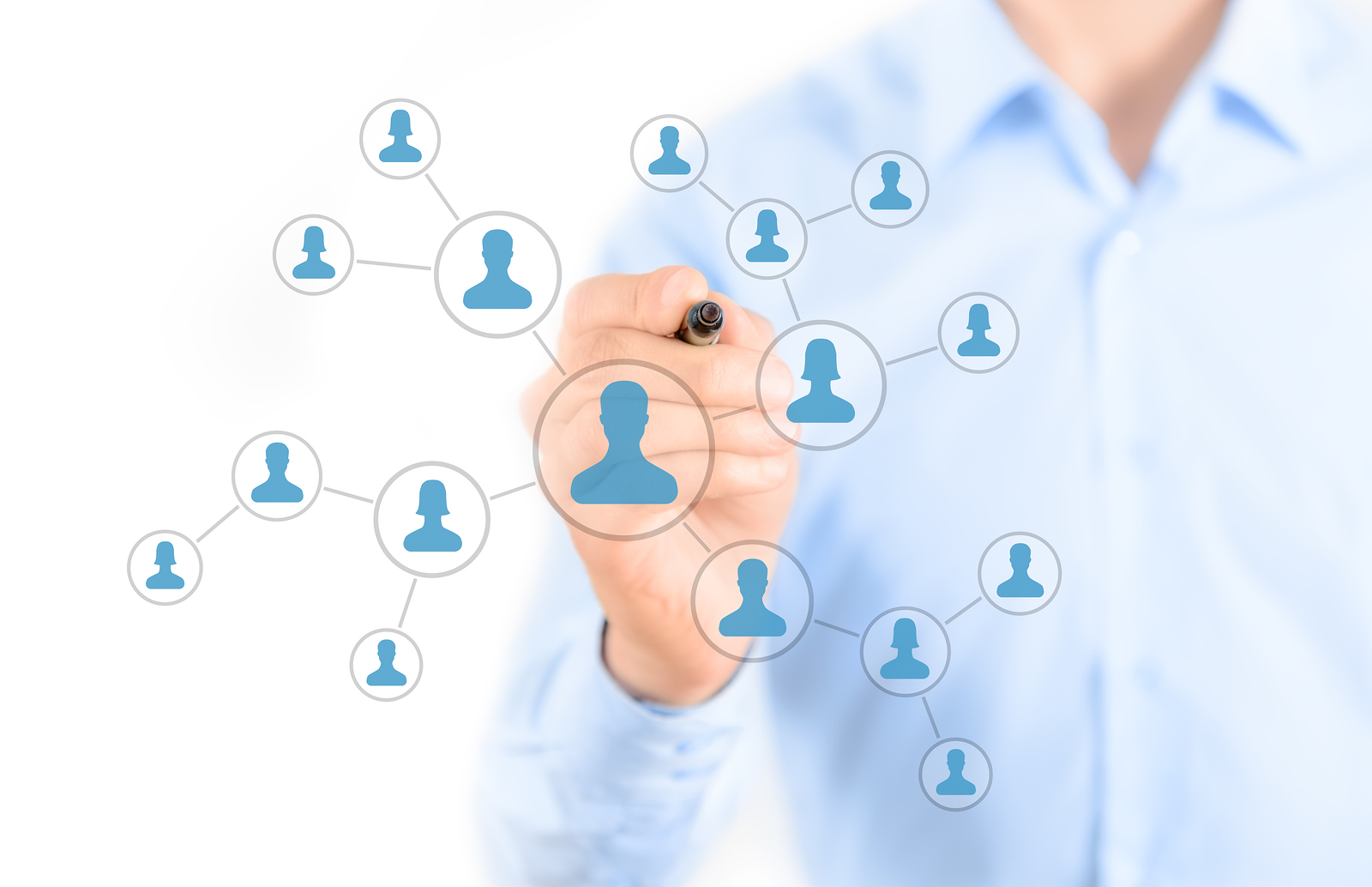 Businessman drawing social network connection concept